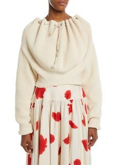 Calvin Klein Oversized Cord-Neck Cotton Knit Sweater
