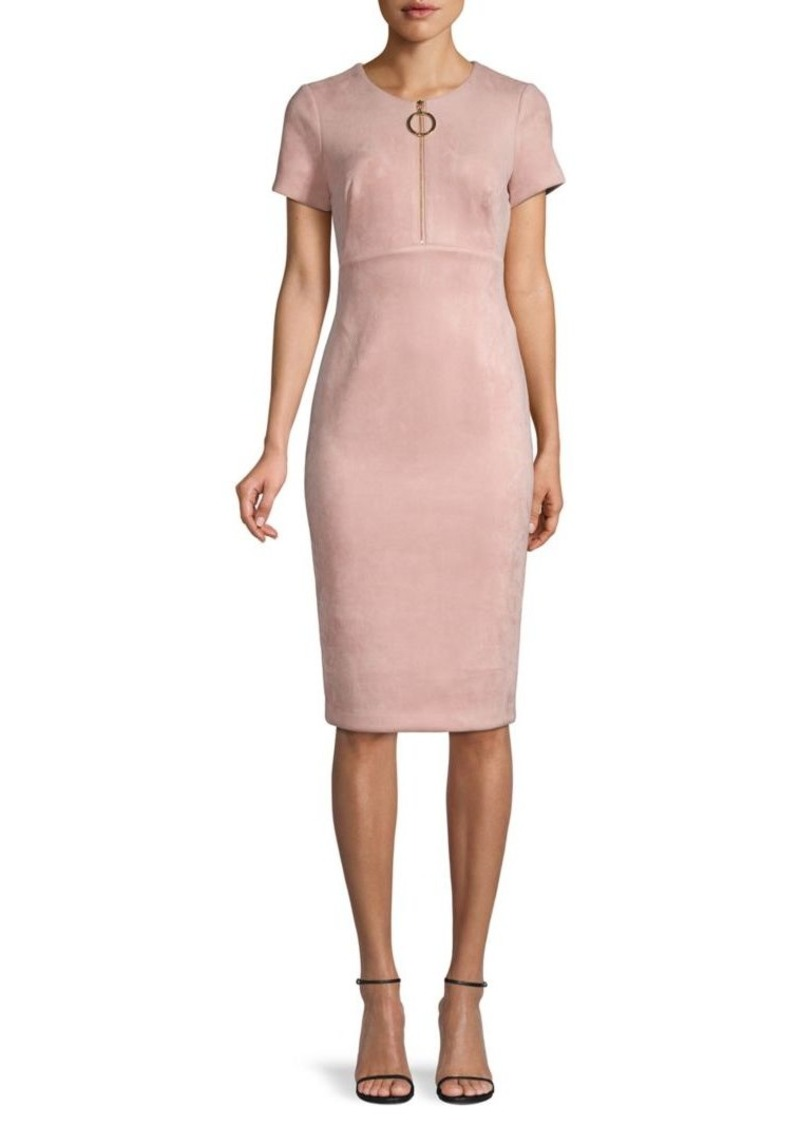 Calvin Klein Partial Zip Short-Sleeve Sheath Dress