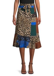 Calvin Klein Patchwork Belted Skirt