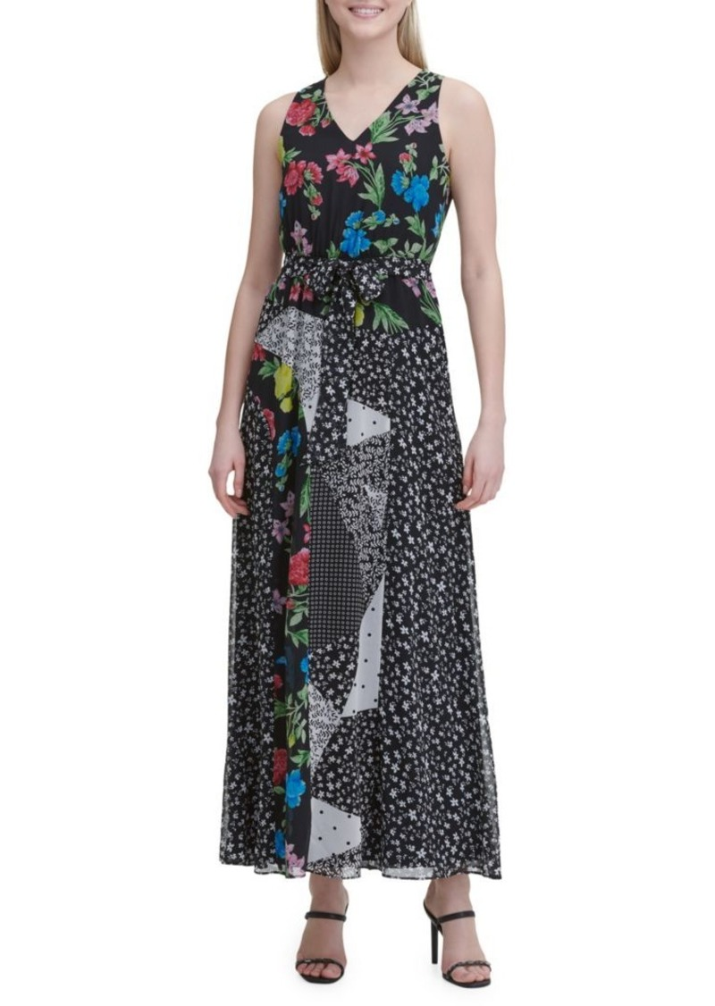 Calvin Klein Patchwork Floral Maxi Dress