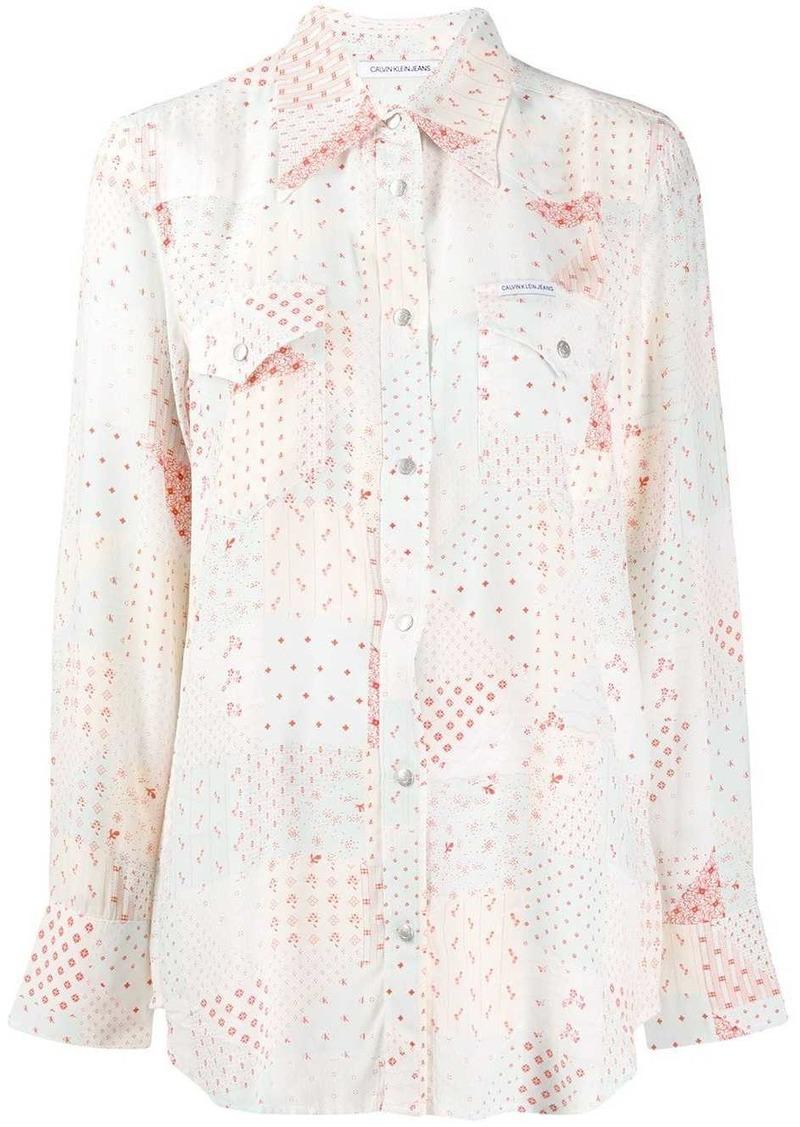 Calvin Klein patchwork print shirt
