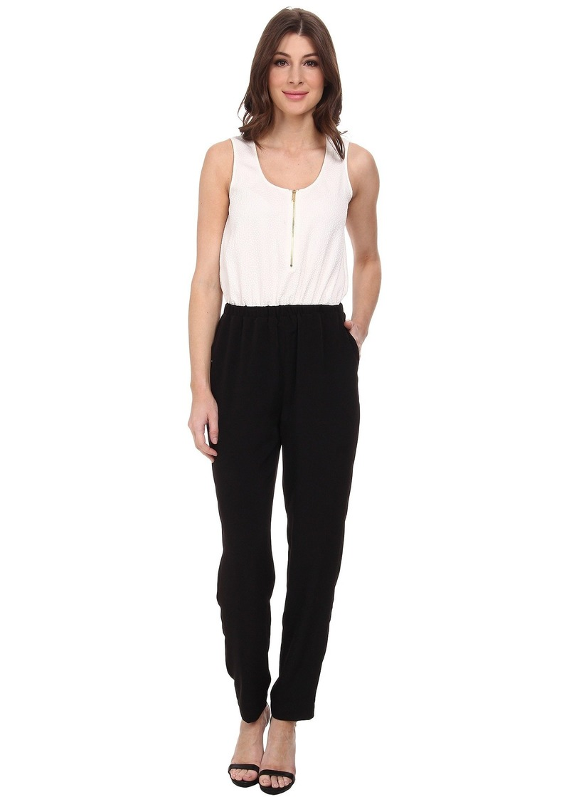 Calvin Klein Pebble Crepe Color Block Jumpsuits