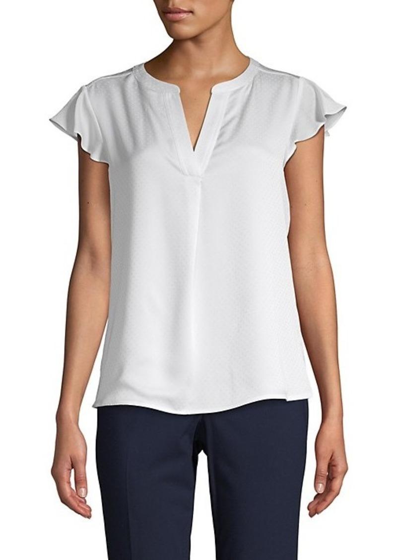 Calvin Klein Petite Dotted Cap-Sleeve Top