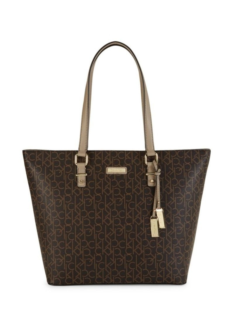 Calvin Klein Pindot Logo Faux Leather Tote
