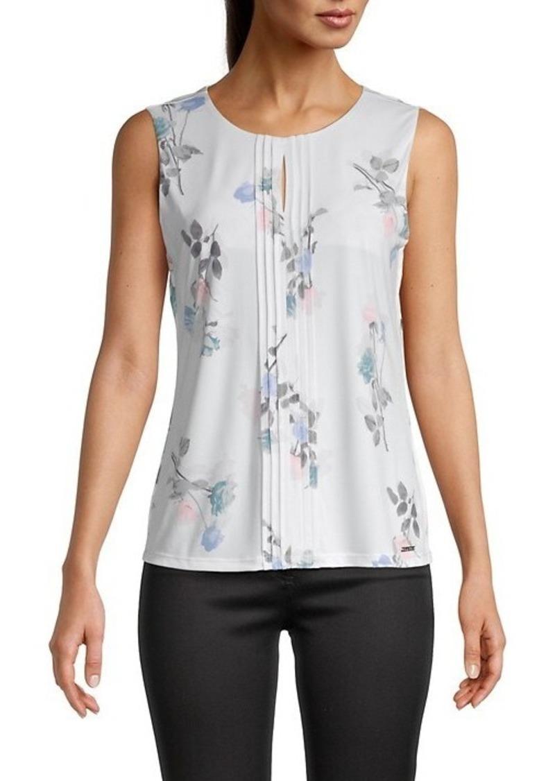 Calvin Klein Pintuck Floral Sleeveless Top
