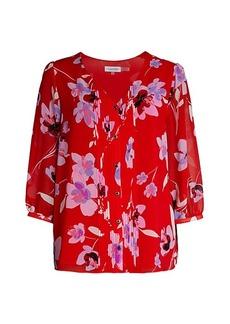 Calvin Klein Pintucked Floral Blouse