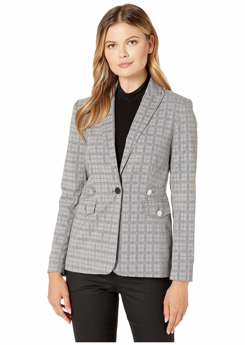 Calvin Klein Plaid Blazer with Tabs and Pockets