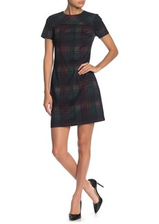 Calvin Klein Plaid Ponte Short Sleeve Dress