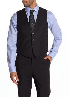 Calvin Klein Plain Black Slim Fit Wool Blend Suit Separate Vest