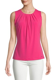 Calvin Klein Pleat Neck Sleeveless Blouse