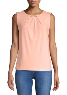Pleat Neck Sleeveless Top