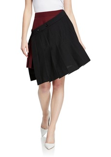 Calvin Klein Pleated Asymmetric Wrapped Tennis Skirt