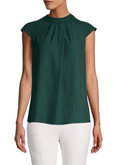 Calvin Klein Pleated Cap-Sleeve Top