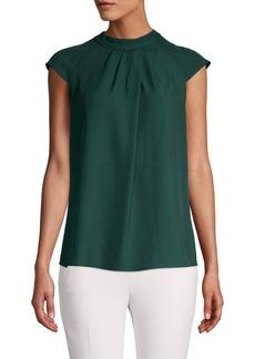 Calvin Klein Pleated Cap-Sleeve Top