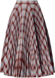 Calvin Klein Pleated Checked Twill Midi Skirt