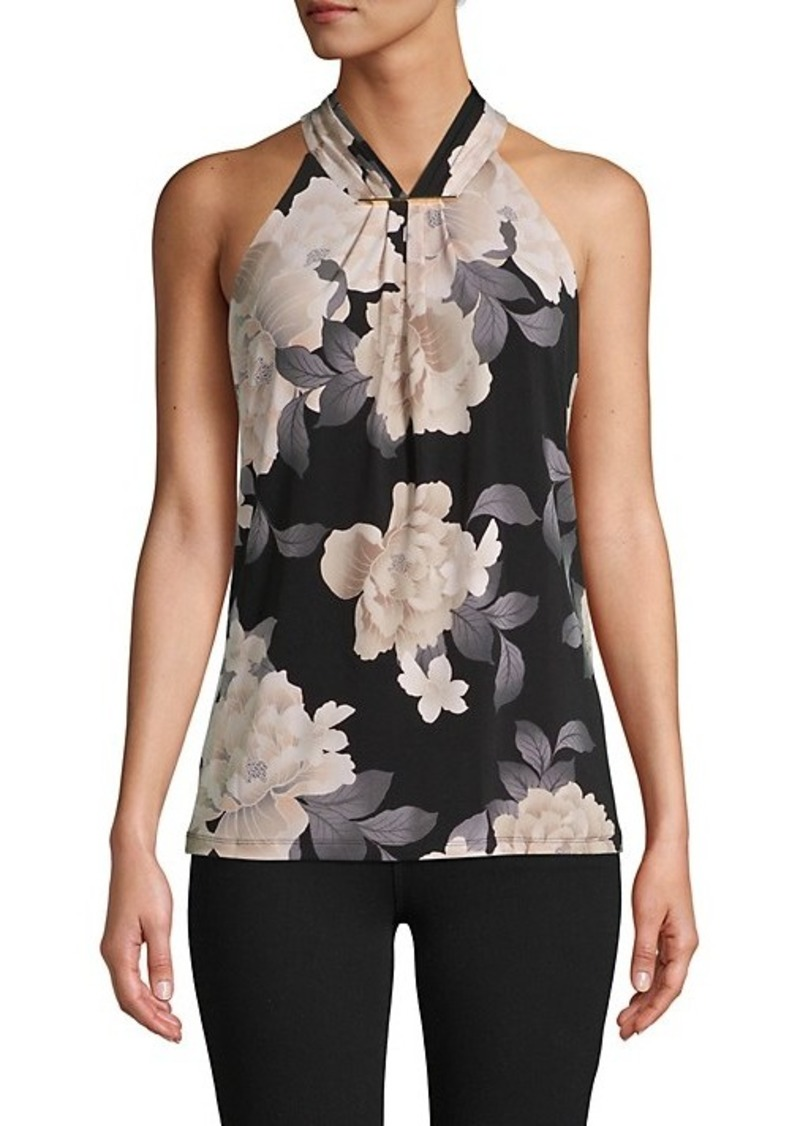 Calvin Klein Pleated Floral Halter Top
