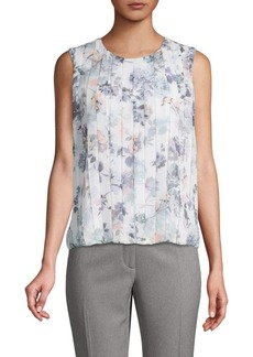 Calvin Klein Pleated Floral Top