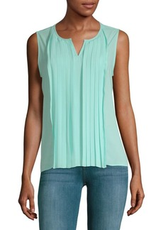 Pleated Front Sleeveless Top