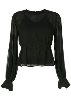 Calvin Klein pleated long-sleeve blouse