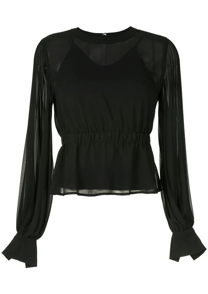 Calvin Klein pleated long-sleeve blouse