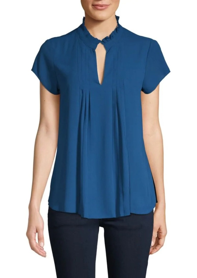Calvin Klein Pleated Mockneck Top