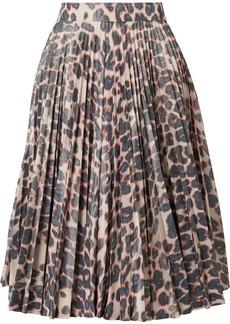 Calvin Klein Pleated Leopard-print Taffeta Midi Skirt