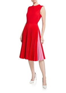 Calvin Klein Pleated-Skirt Crewneck Sleeveless Fit-and-Flare Dress