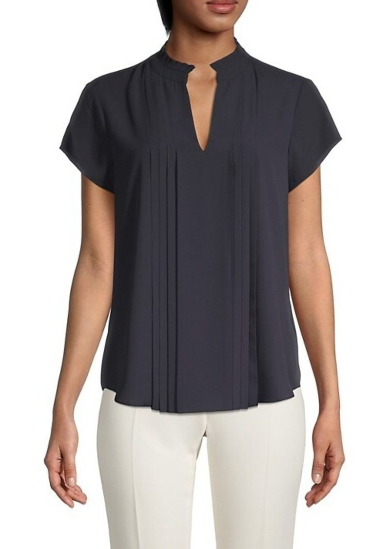 Calvin Klein Pleated Splitneck Top