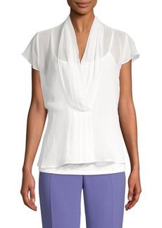 Calvin Klein Pleated V-Neck Top