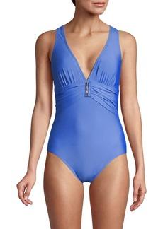 Calvin Klein Plunge-Neck One-Piece Swimsuit