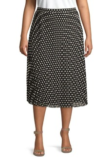 Calvin Klein Plus Pleated Polka Dot Midi Skirt