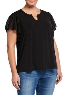 Calvin Klein Plus Size Embellished Chiffon Top