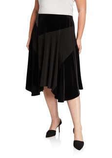 Calvin Klein Plus Size Faux Leather Mixed-Media Midi Skirt