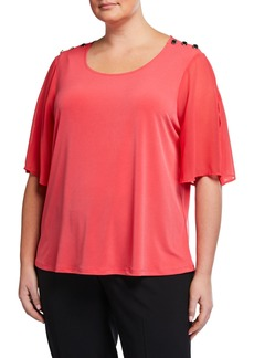 Calvin Klein Plus Size Flutter-Sleeve Top