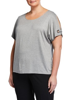Calvin Klein Plus Size Grommet-Sleeve Top