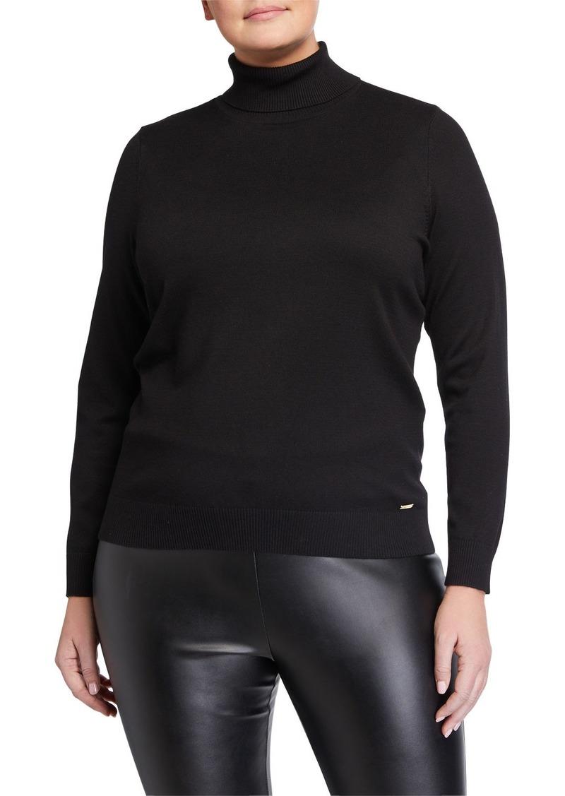 Calvin Klein Plus Size Solid Long-Sleeve Turtleneck Top