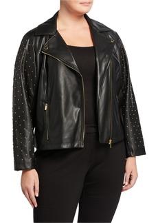 Calvin Klein Plus Size Studded Faux-Leather Moto Jacket