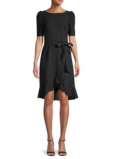 Calvin Klein Polka Dot High-Low Ruffled Dress