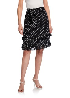 Calvin Klein Polka Dot Ruffle-Trim Skirt