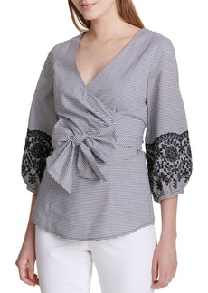 Calvin Klein Poplin Cotton Wrap Top