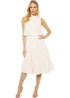 Calvin Klein Popover A-Line Dress with Tie Neck