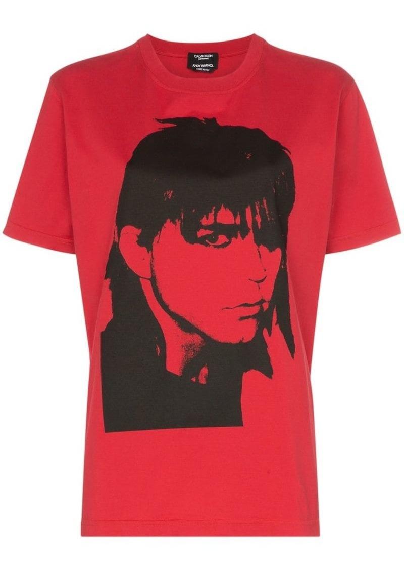 portrait print cotton T-shirt