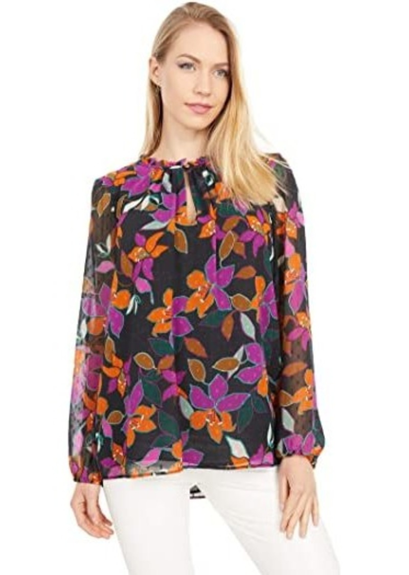 Calvin Klein Print High Neck Ruffle Blouse