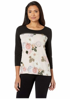 Calvin Klein Printed 3/4 Sleeve Top with Zip