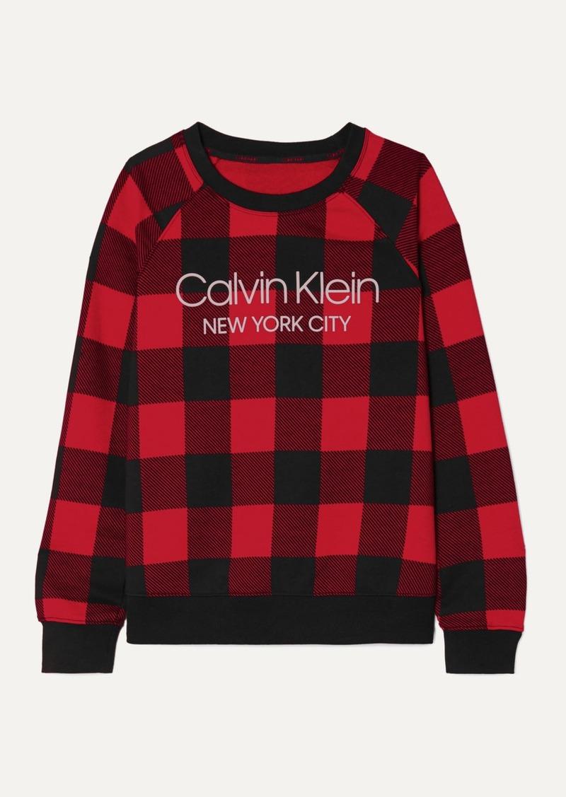 Calvin Klein Printed Checked Cotton-blend Jersey Sweatshirt