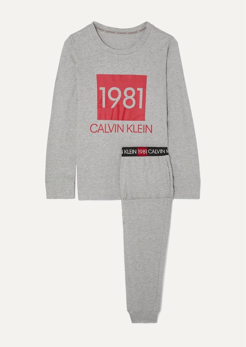 Calvin Klein Printed Cotton-jersey Pajama Set