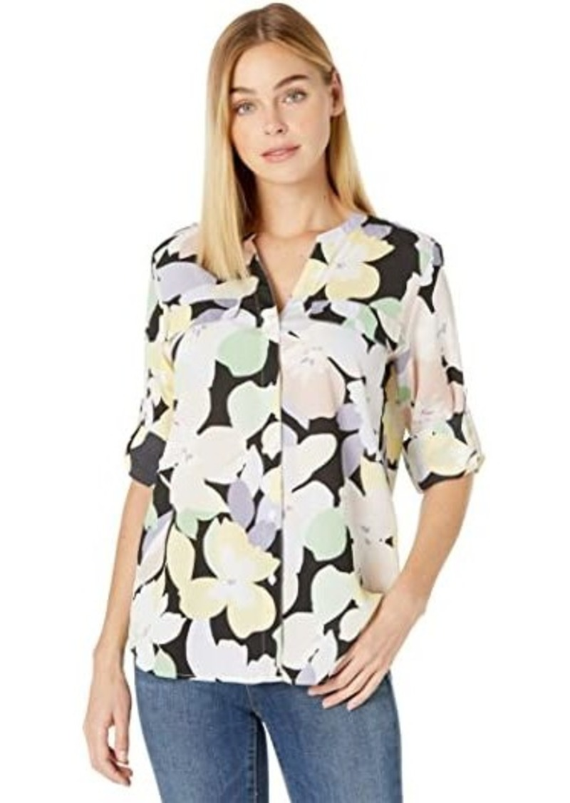 Calvin Klein Printed Crew Neck Blouse with Roll Sleeve