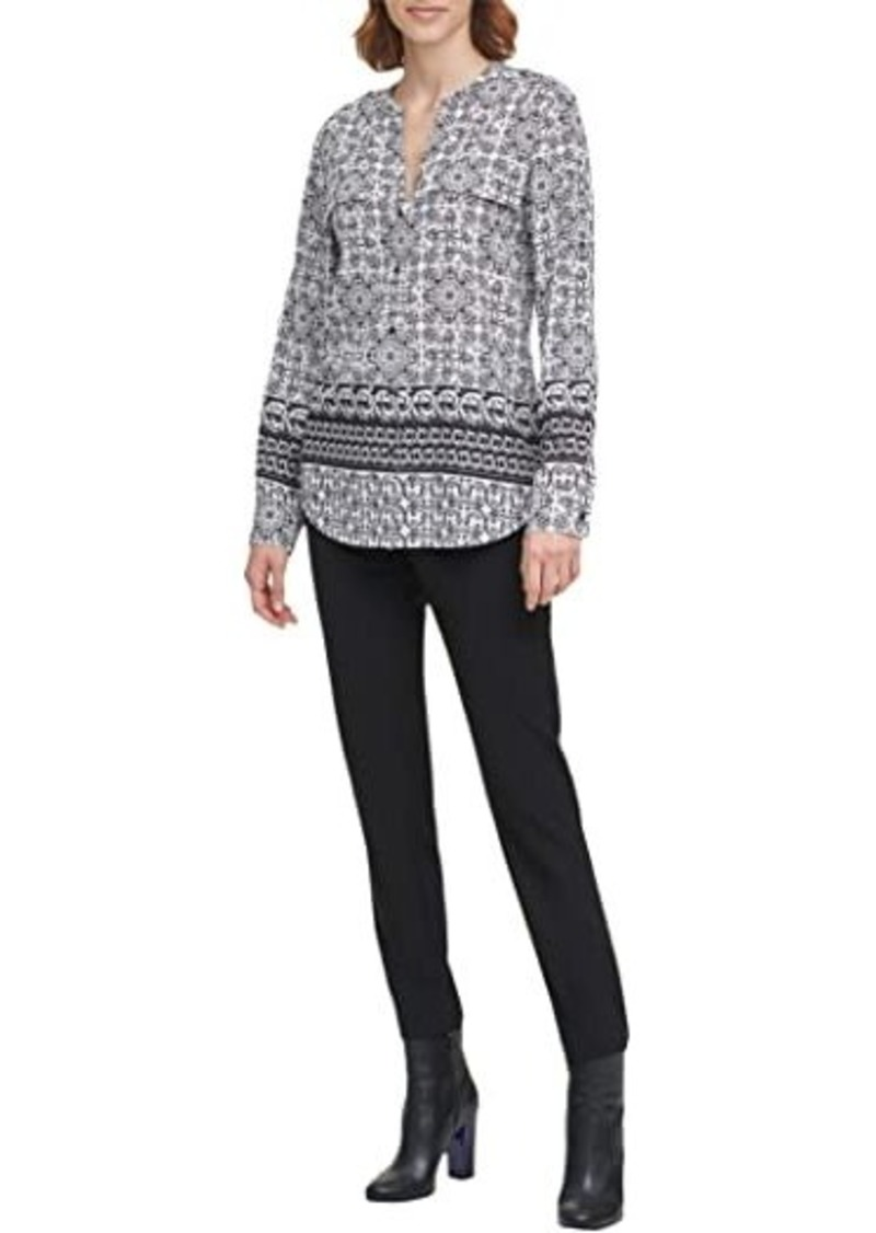 Calvin Klein Printed Crew Neck Roll Sleeve Top