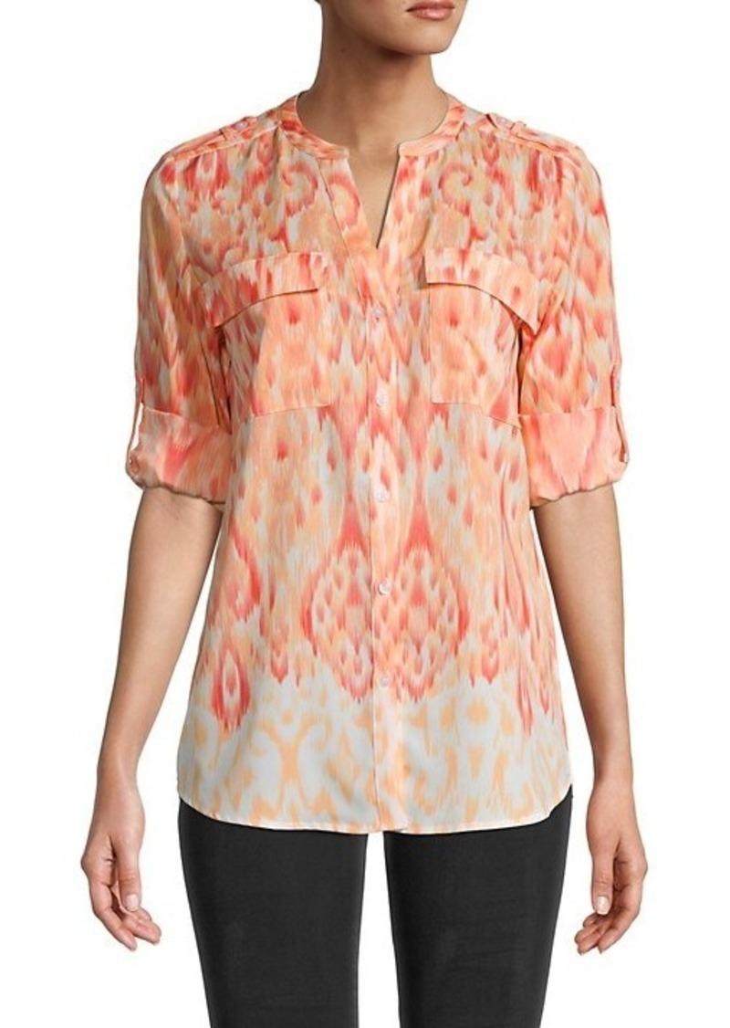 Calvin Klein Printed Crew Rolled-Sleeve Top