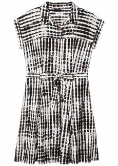 Calvin Klein Printed Linen Short Sleeve Shirtdress with Belt